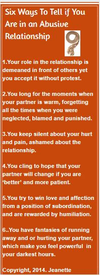6 signs of abusive relationships