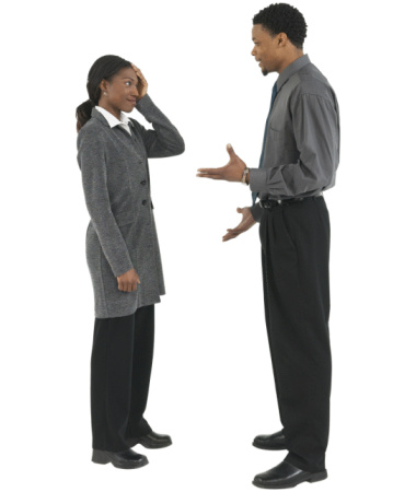 man and woman in a discussion